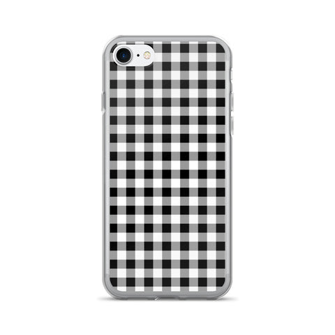 Black White Gray Gingham Design iPhone 7/7 Plus Case