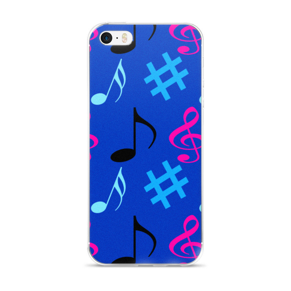 Blue Music Notes iPhone 5/5s/Se, 6/6s, 6/6s Plus Case