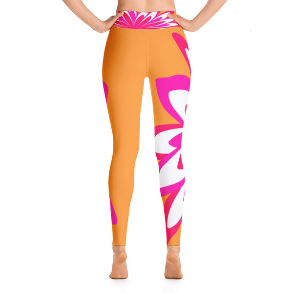 Fleur Orange Pink Yoga Leggings