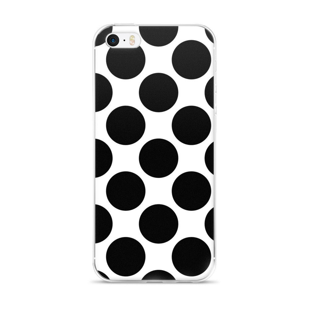 Annie Black White Polka Dots Design iPhone 5/5s/Se, 6/6s, 6/6s Plus Case