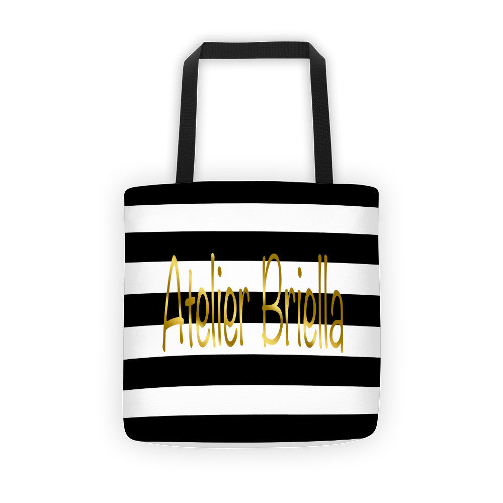 black white stripes atelier briella tote bag