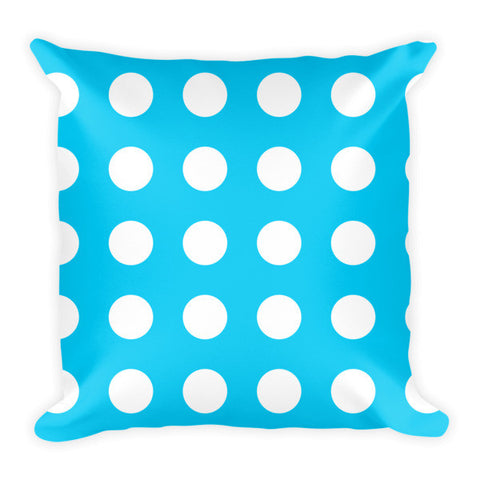 blue polka dot throw pillow