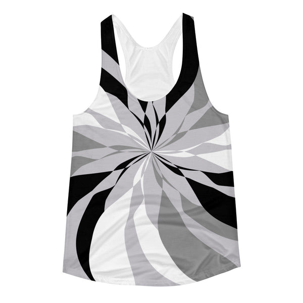 Black White Gray Women's Racerback Tank