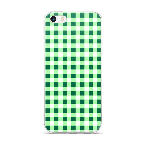 Green Gingham Design iPhone 5/5s/Se, 6/6s, 6/6s Plus Case