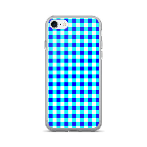 Blue Teal White Gingham Design iPhone 7/7 Plus Case