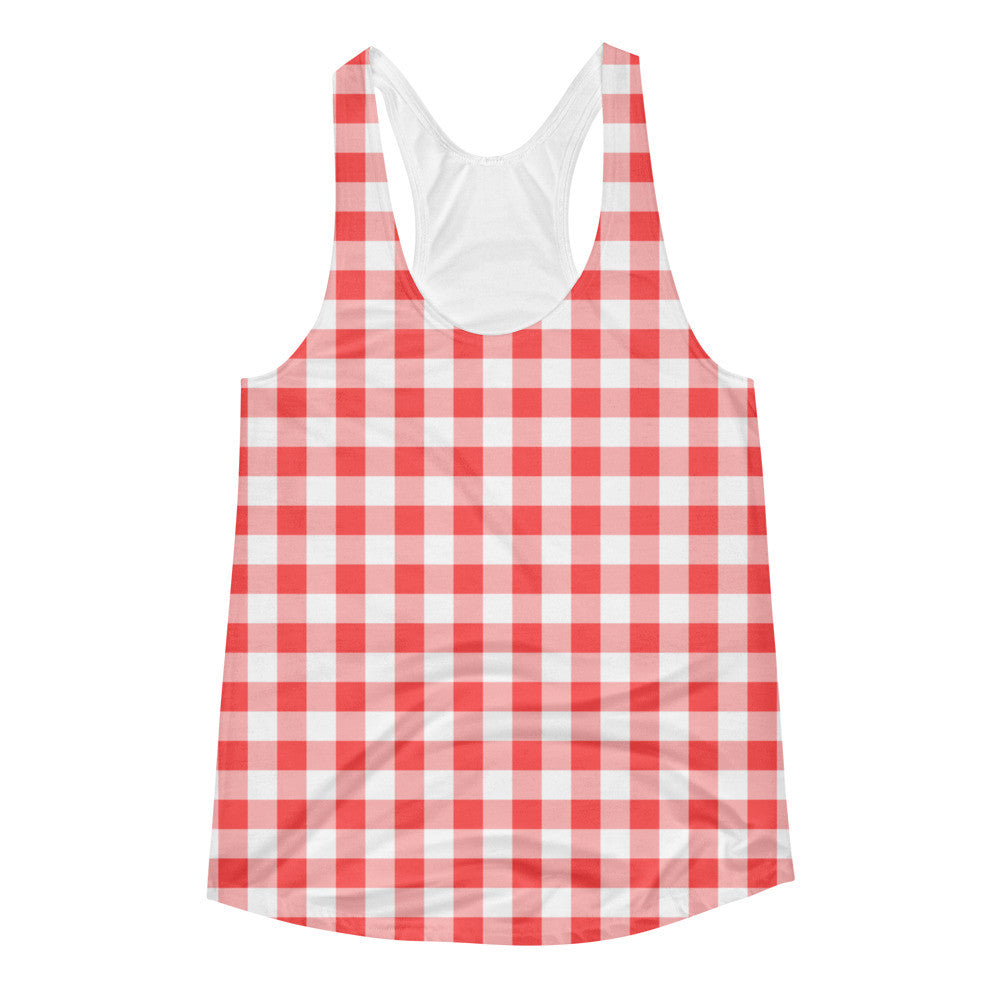 Gingham Coral Peach White Women's Racerback Tank