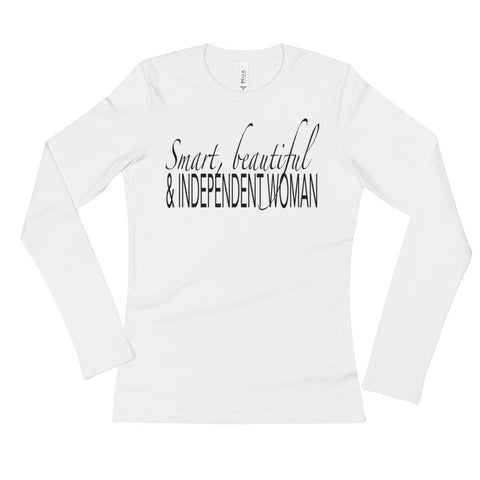 White Long Sleeve T-Shirt: Independent Woman