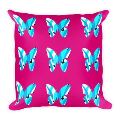 Pink blue throw pillow