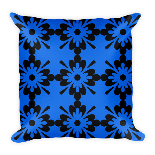 Black and blue decorative pillow