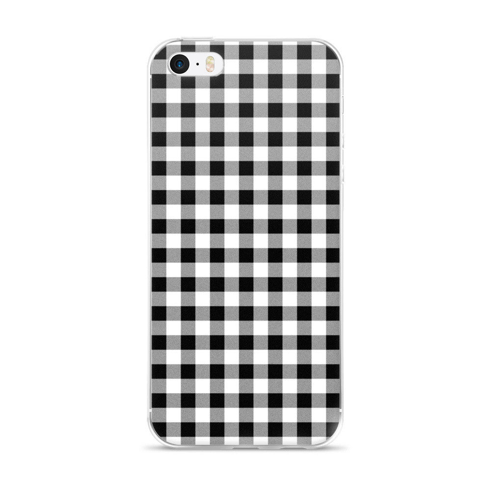 Black White Gray Gingham Design iPhone 5/5s/Se, 6/6s, 6/6s Plus Case
