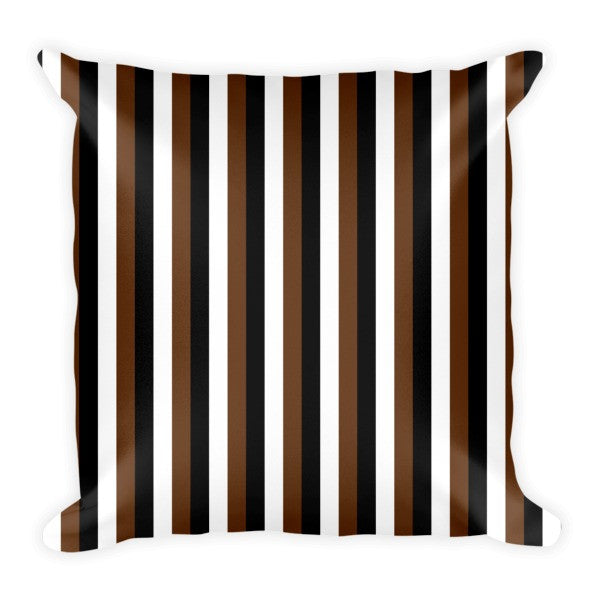 black white brown stripes throw pillows