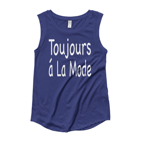 Black Blue Ladies' Cap Sleeve Statement T-Shirt