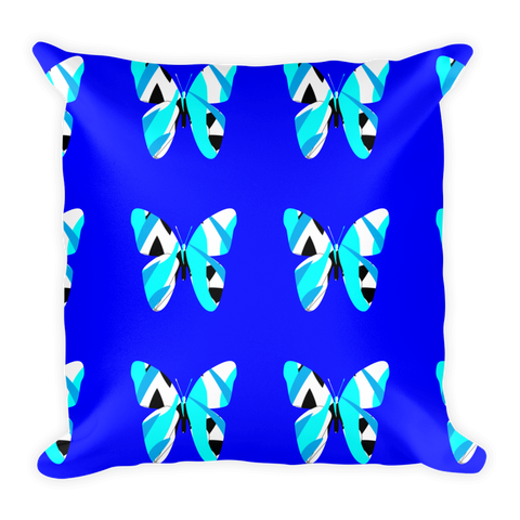 Blue butterfly throw pillows