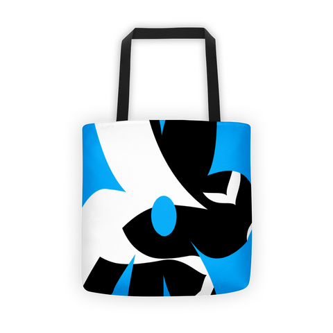blue white black tote bag, printed tote bag
