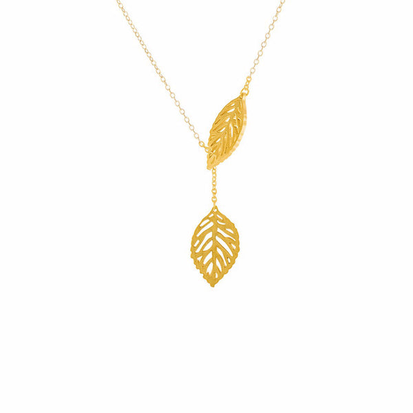 Double Leaf Lariat Necklace