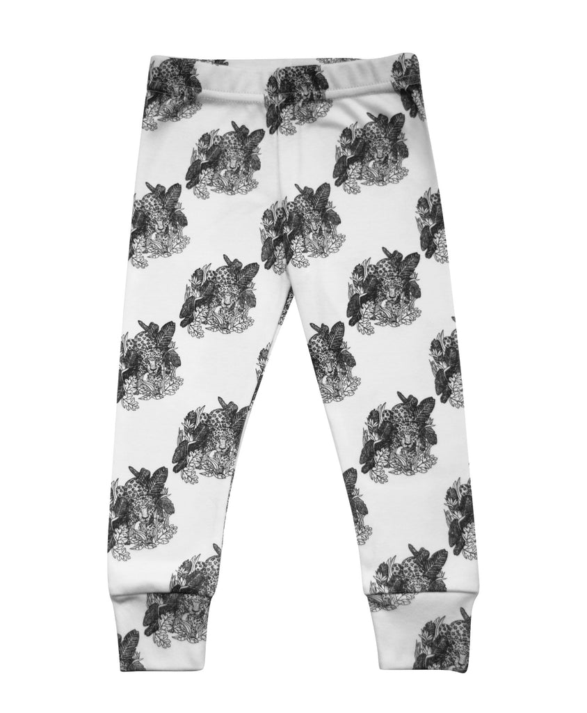 Little Kitt 100% cotton unisex monochrome jaguar animal leggings for babies and toddlers
