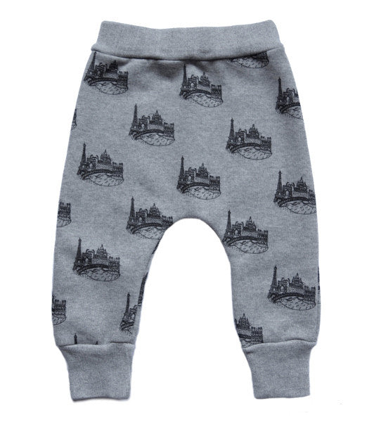 Little Kitt supsersoft cotton unisex grey marl sweatpants with Paris cityscape for babies and toddlers