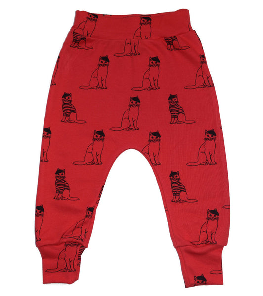Little Kitt 100% cotton unisex red cat harem leggings for babies and toddlers