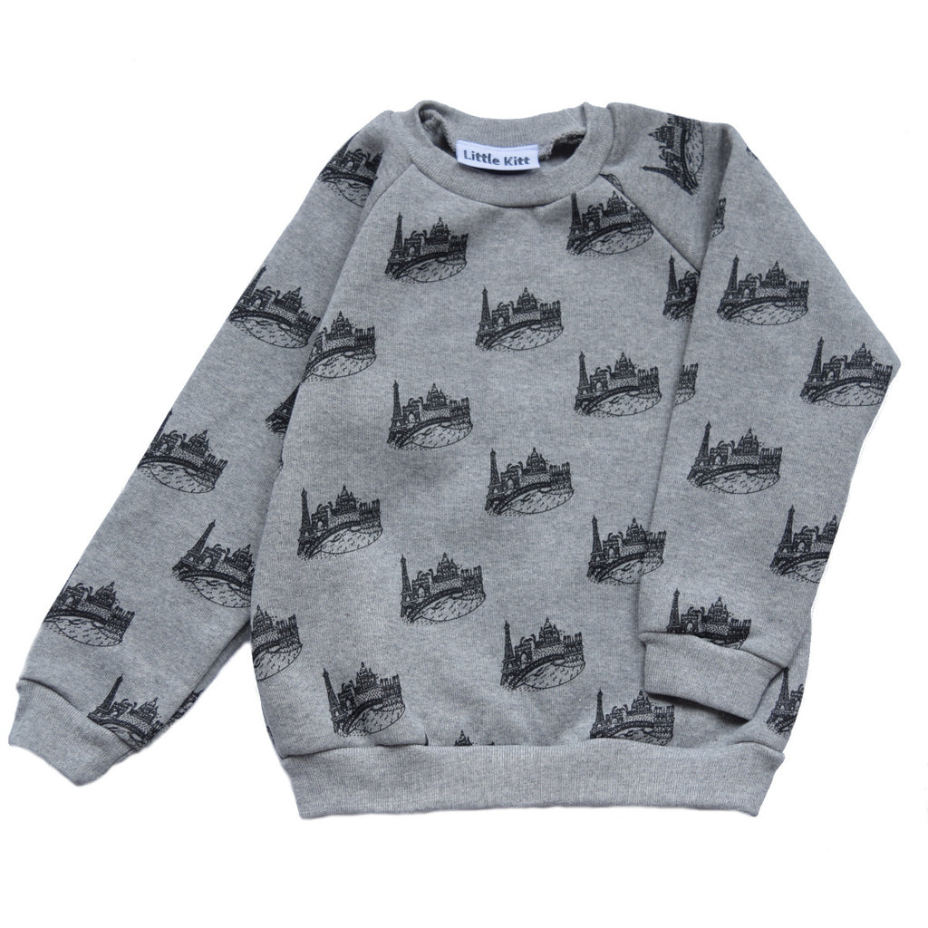 Little Kitt supsersoft cotton unisex grey marl sweatshirt with Paris cityscape for babies and toddlers