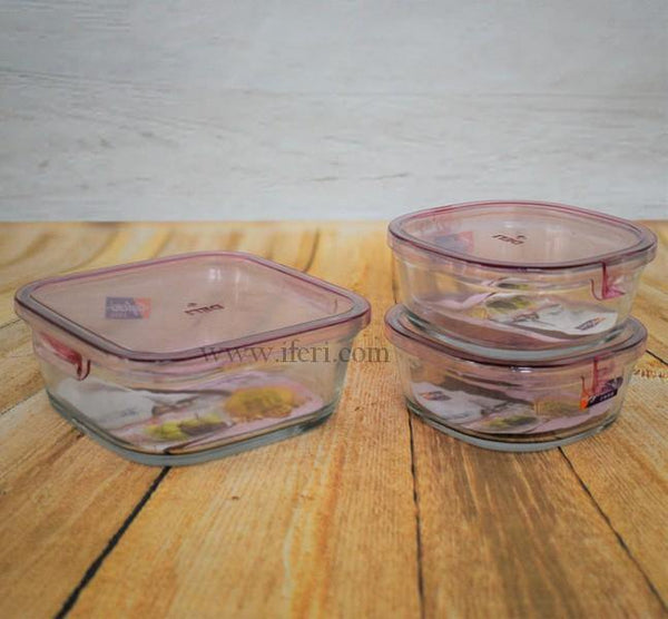 3 Pcs Glass Container with Plastic Lid UT2885