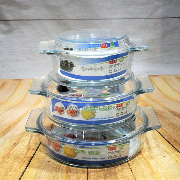 3 Pcs High Quality Glass Made Casserole Dish Set NM3804