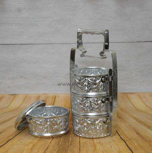 4 Tier Vintage Aluminum Tiffin Food Carrier UT3991