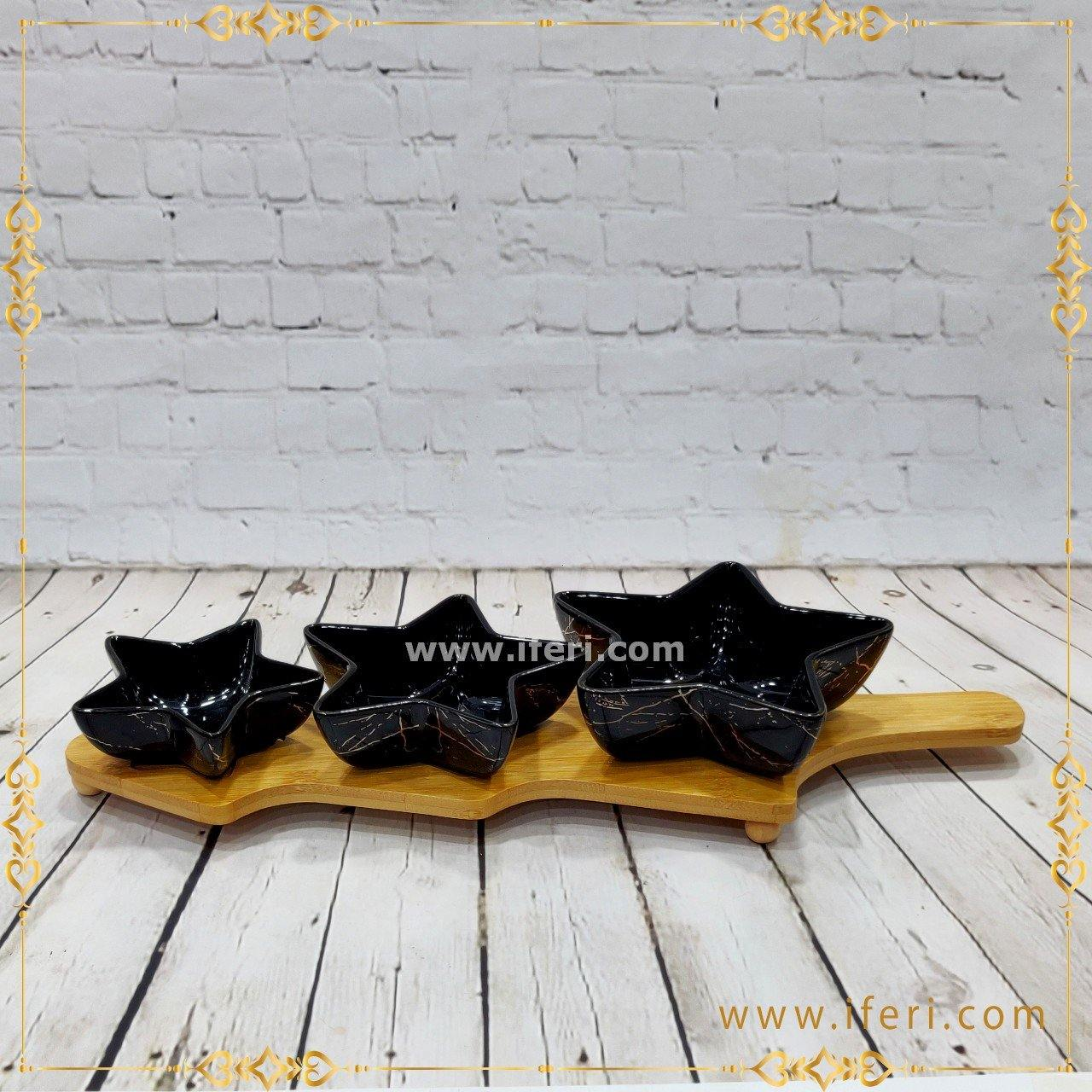 3 Pcs Ceramic Bowl Set With Wooden Tray RY7049