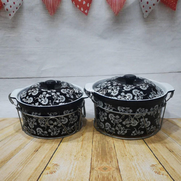 2 pcs Ceramic Curry Serving Dish With Lid & Metal Stand BS2062 - Serveware