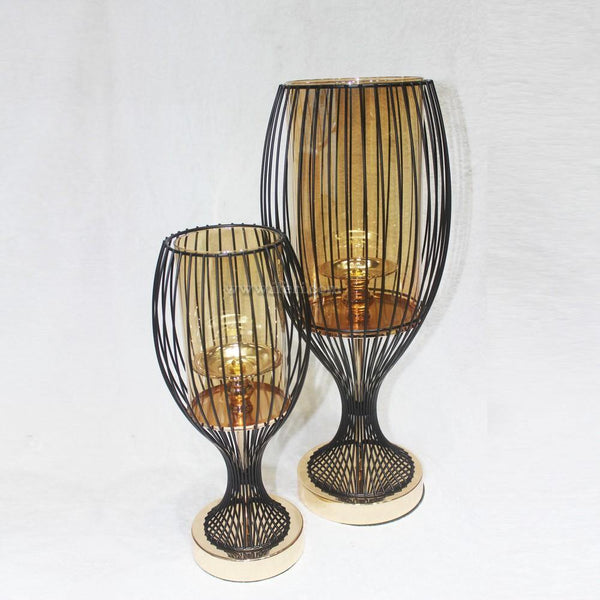 2 pcs Metal & Glass Showpiece Candle Stand Set GVT9854 - Candle Stand