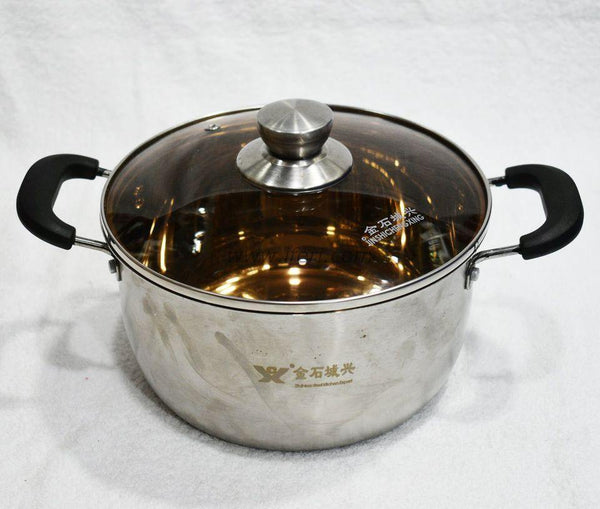 22cm Stainless Steel Stock Pot With Glass Lid TG1225 - Cookware