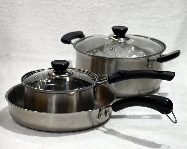 3 pcs Steel Cookware Set IQ0684 - Cookware