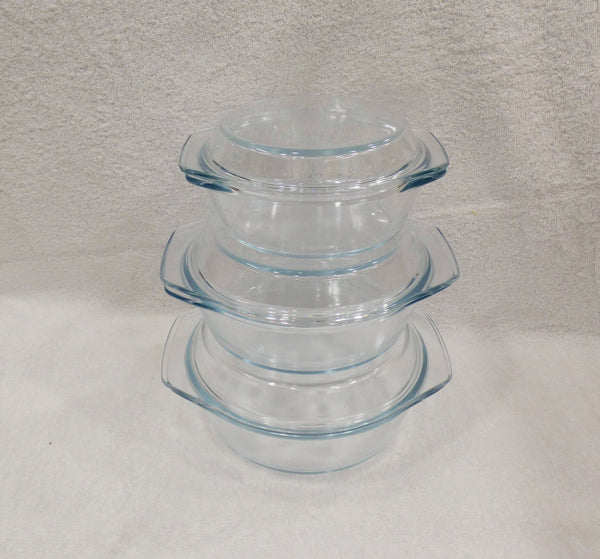 3 Piece Tempered Glass Casserole Set Food Lid BKK048 - Casserole Dish