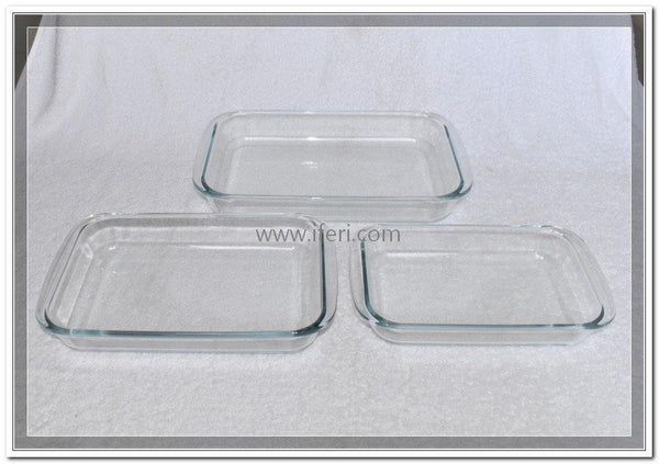 3 Piece Tempered Glass Rectangular Casserole Set TW5643 - Casserole Dish
