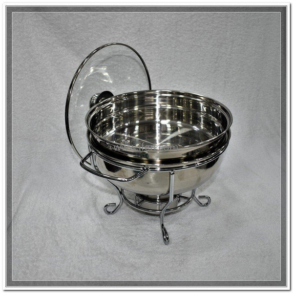 3.5 Liter Round Shape Buffet Chafing Dish with Glass Lid UT7433 - Chafing Dish