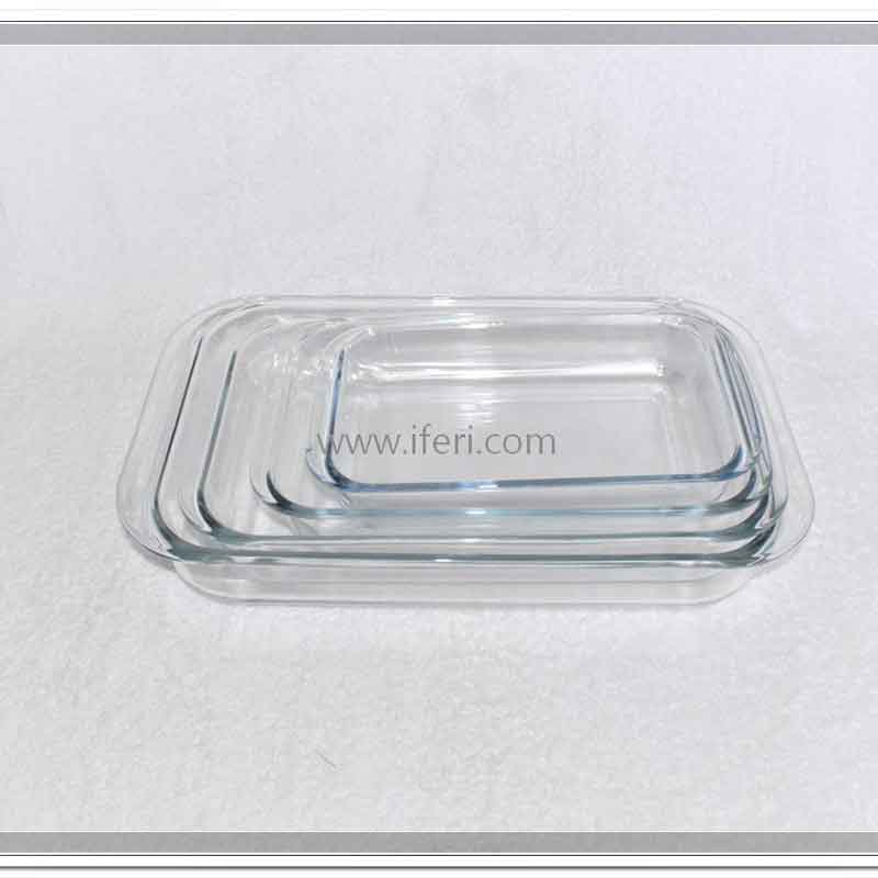 4 Piece Tempered Glass Rectangular Casserole Set TW7532