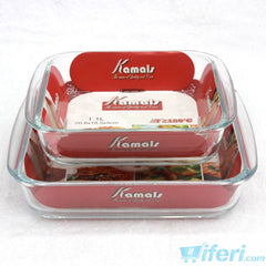 2 Pcs Oven Cook Glass Casserole Set KML4256