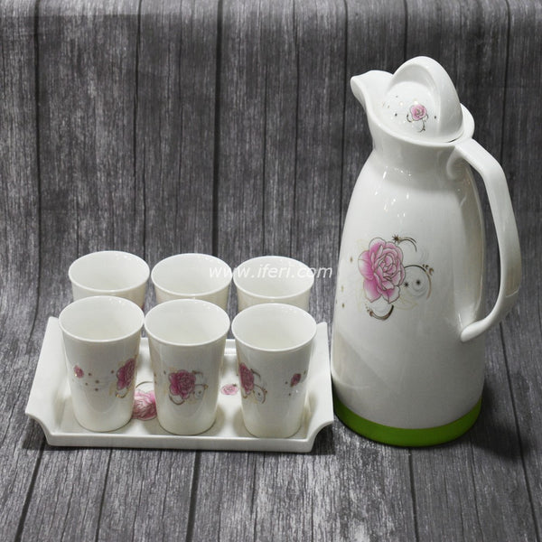 8 pcs Exclusive Floral Design Tea-set with Tray SH7598