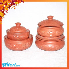 4 Pcs Clay Curry Bowl Set With Lid MB7689