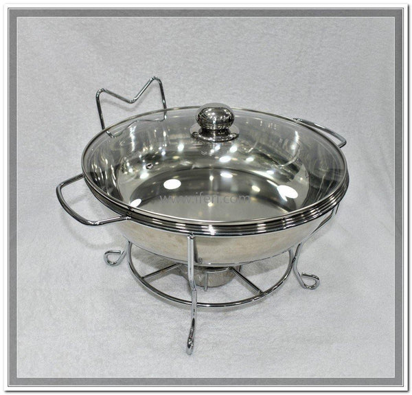 6 Liter Round Shape Buffet Chafing Dish with Glass Lid UT7432 - Chafing Dish