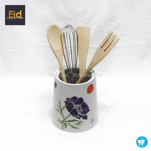 Ceramic Spoon Holder With Wooden Spoon DP6229