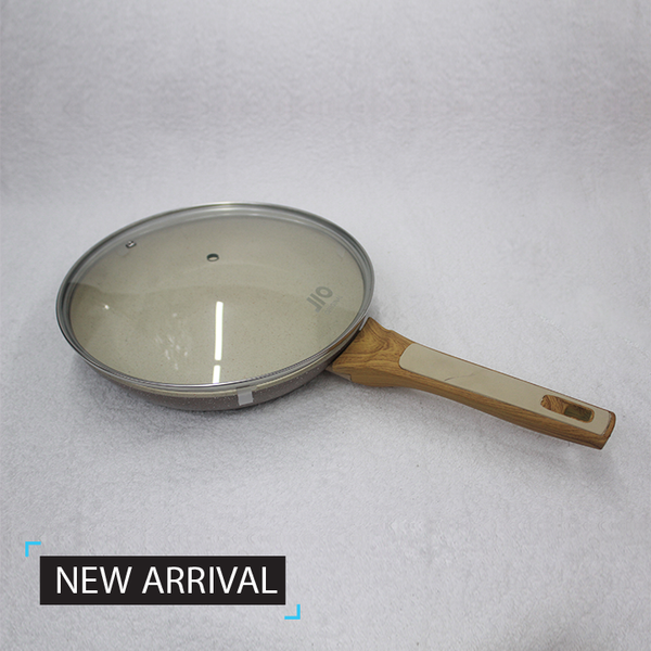 26 cm Marble Coated Cookware Frying Pan with a Large Glass Lid RH7902