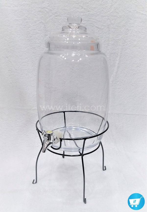 6 Liter Glass Juice Jar With Metal Stand Dispenser 0718