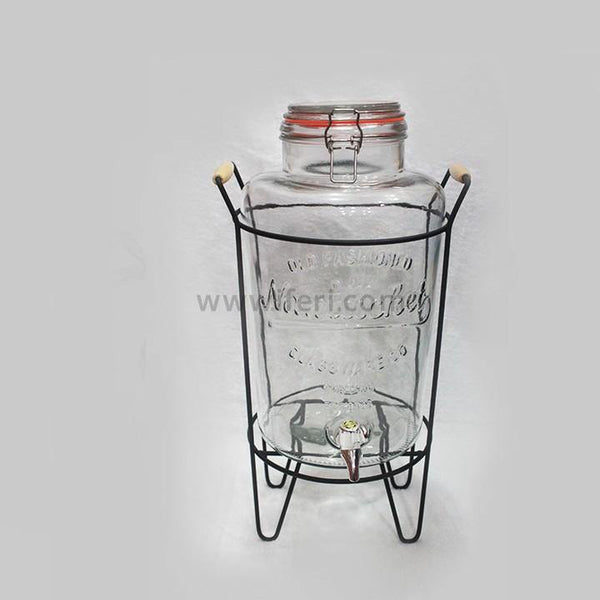 10 Liter Glass Juice Jar With Metal Stand Dispenser 5050