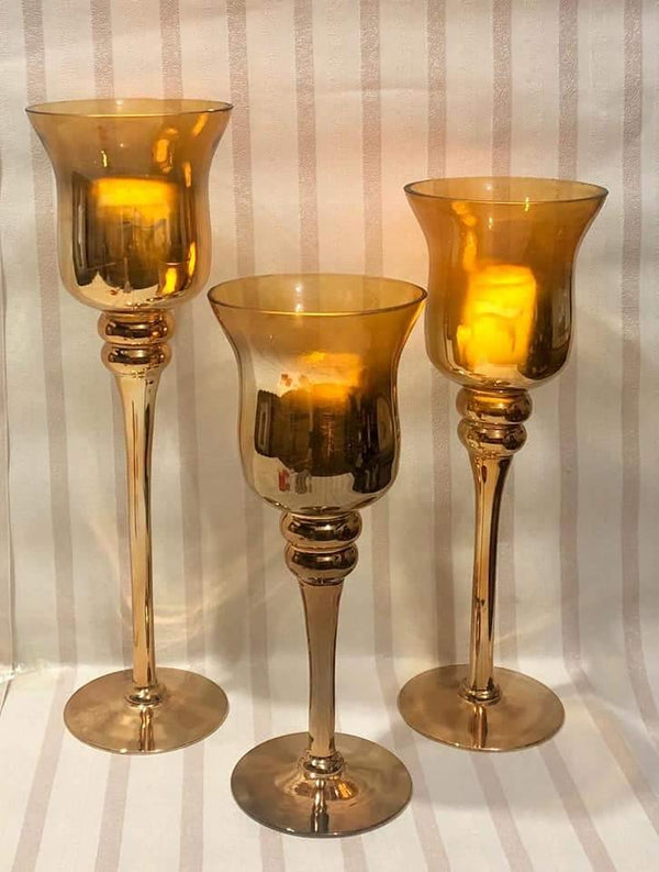 3 pcs Glass Decorative Candle Stand DP2921
