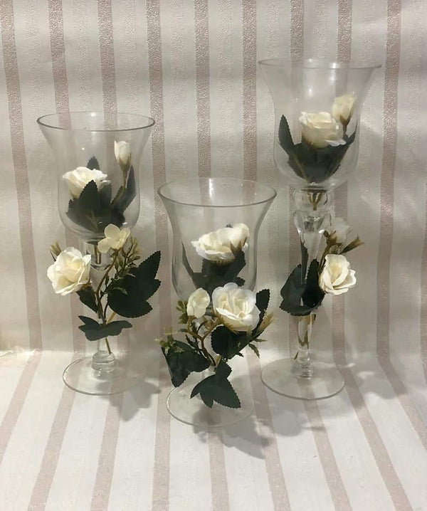 3 pcs Decorative Candle Stand With Flower DP2923