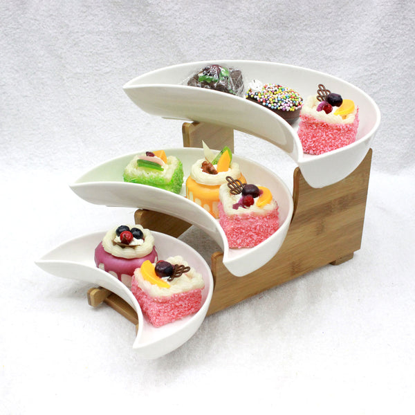3-Tier Ceramic Cake, Dessert, Appetizer Serving Dish With Stand DP5376