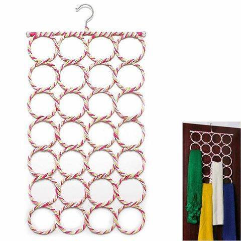 28-Hole Ring Rope Scarf Rack - iferi.com