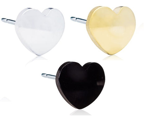 Heart 5mm or 8mm - Black, Golden and Silver Titanium Earrings