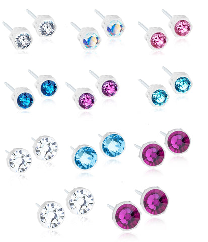 Crystal Earrings - 100% Nickel Free - Medical Plastic