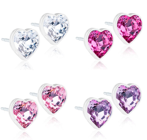 Hearts 6mm - 100% Nickel Free Medical Plastic Earrings